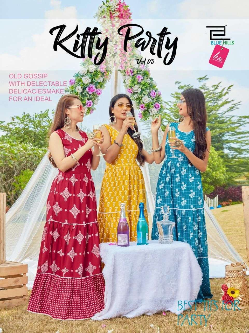 blue hills kitty party vol 3 long gown style rayon kurtis wholesaler