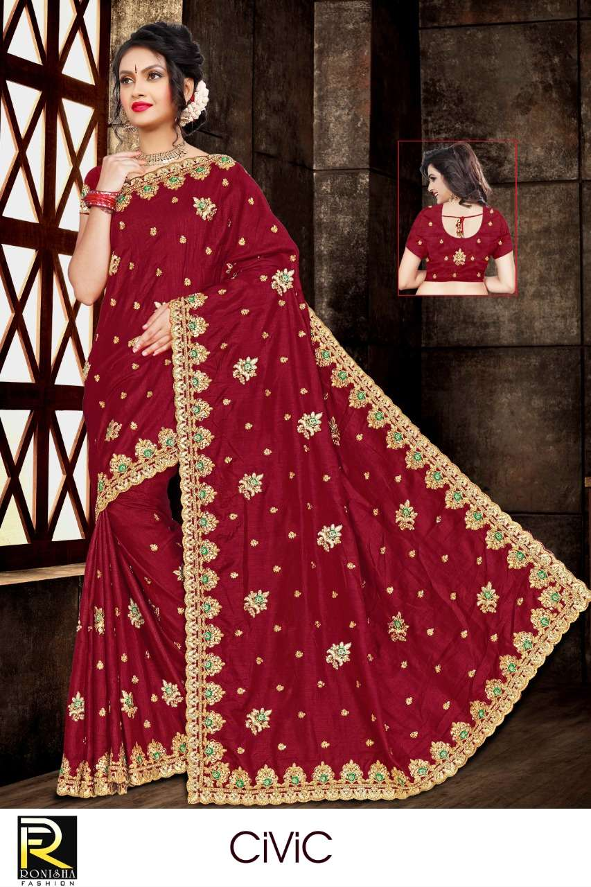 Civic by ranjna saree embroidery worked heavy Diamond saree collecton