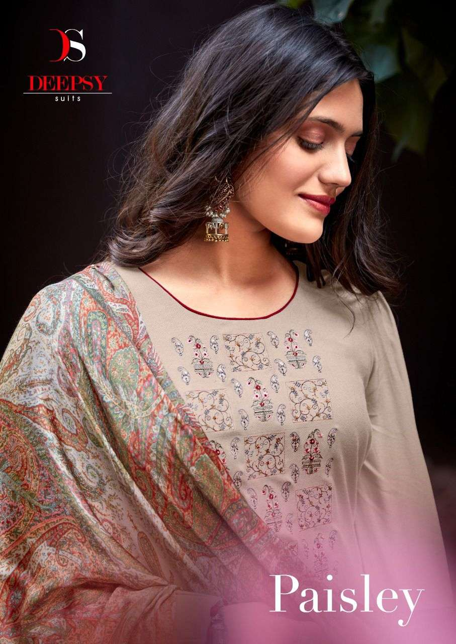 deepsy suits launch paisely pashmina salwar kameez with embroidery work
