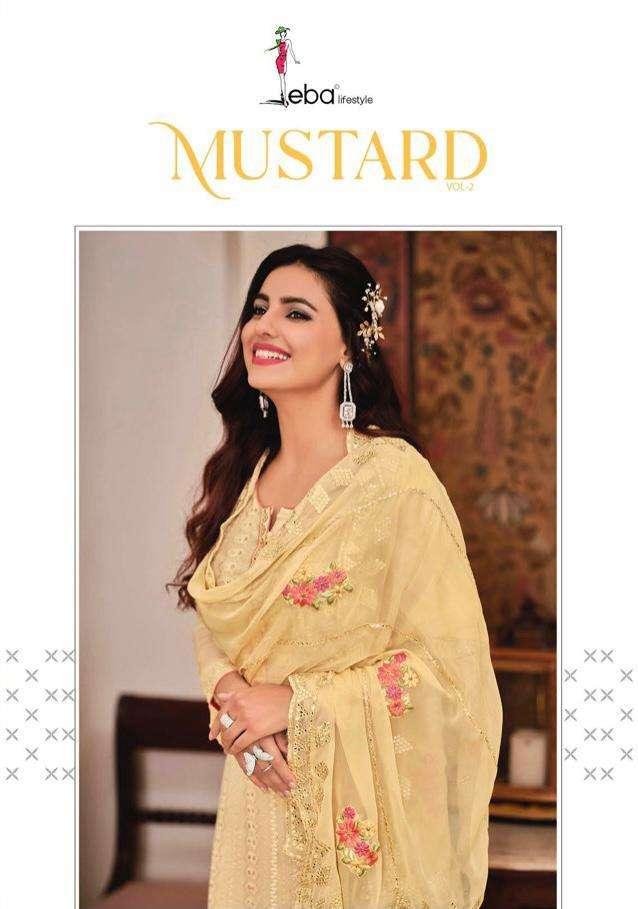 eba mustard vol 2 chinon embroidery classy look salwar kameez