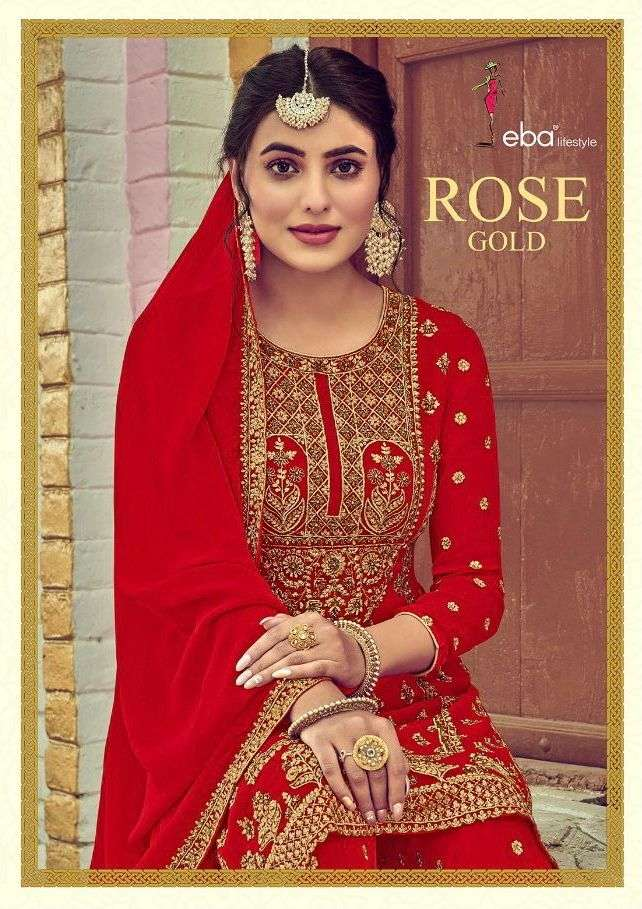 eba rose gold georgette plazzo suits exporter