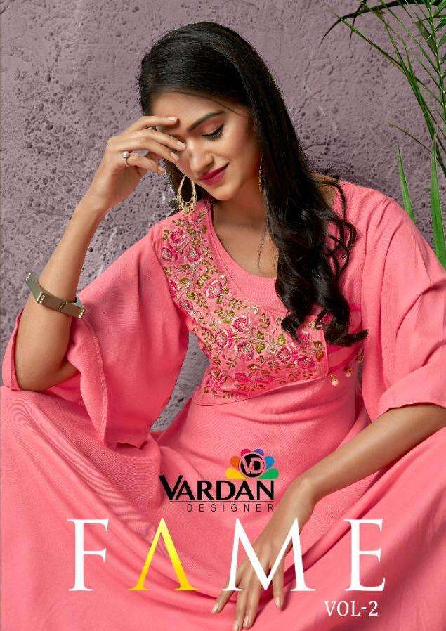 Fame Vol 2 By Vardan Heavy Rayon Long Evening Party Wear Gown Style Kurti