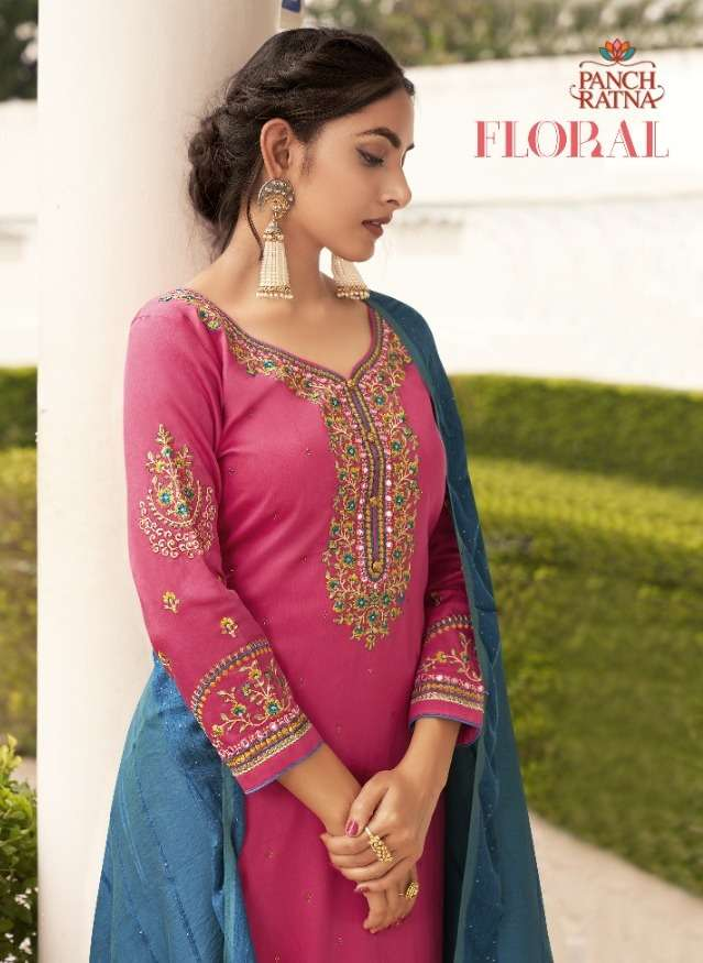 floral by panch ratna jam silk casual dress materials