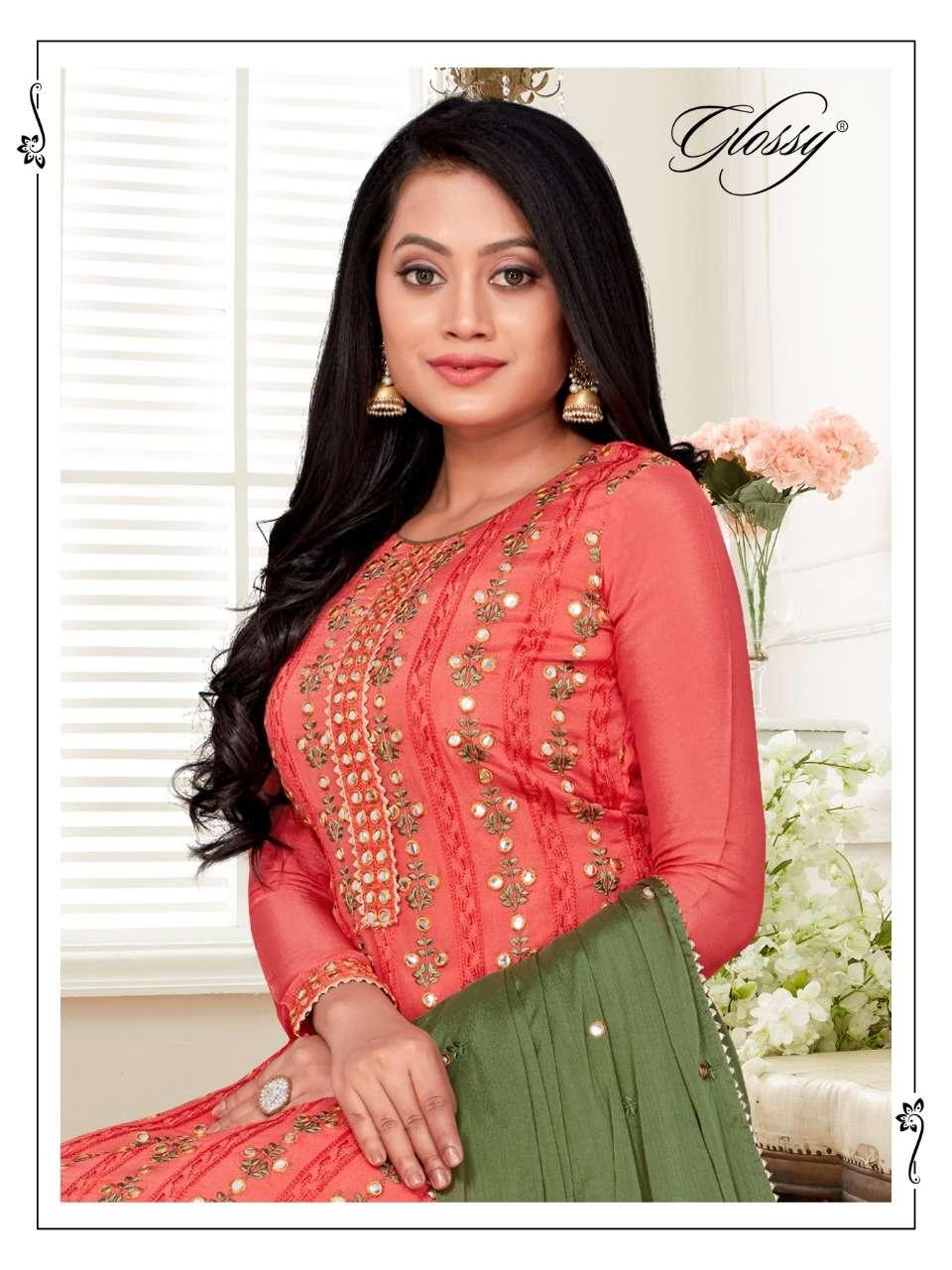 glossy jhullan sharara pattern salwar suits design supplier