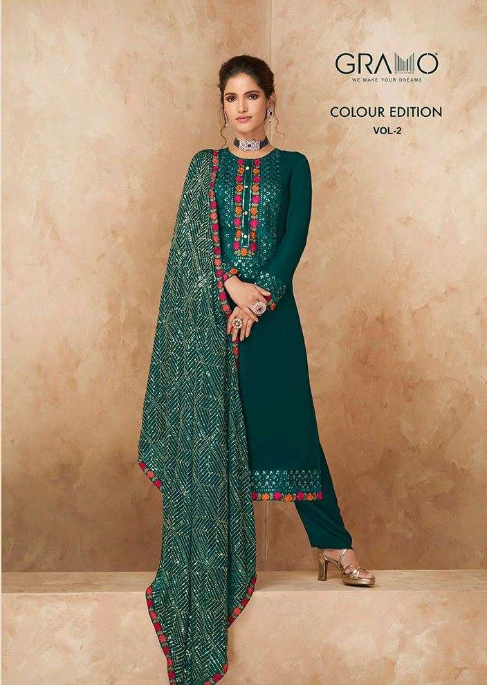 gramo colour edition vol 2 heavy georgette traditional and festival wear readymade suits