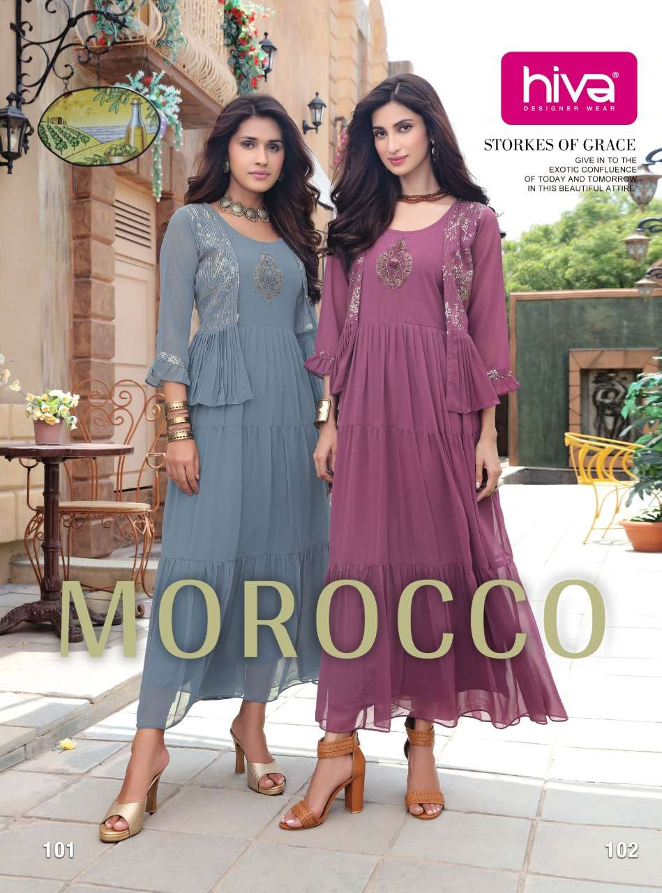 hiva morocco georgette designer stylish kurtis wholesaler