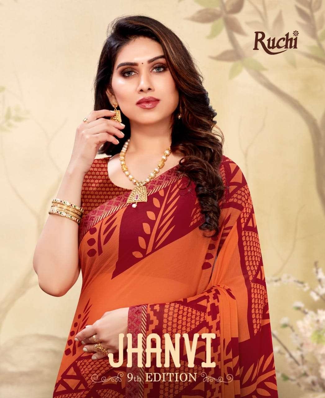 jhanvi vol 9 by ruchi chiffon printed fancy saree wholesaler