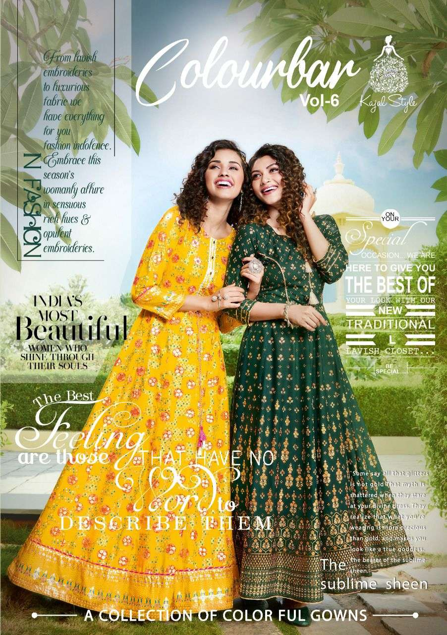 Kajal style introduce fashion colorbar vol 6 series 7001 to 7010 designer gown style long kurti