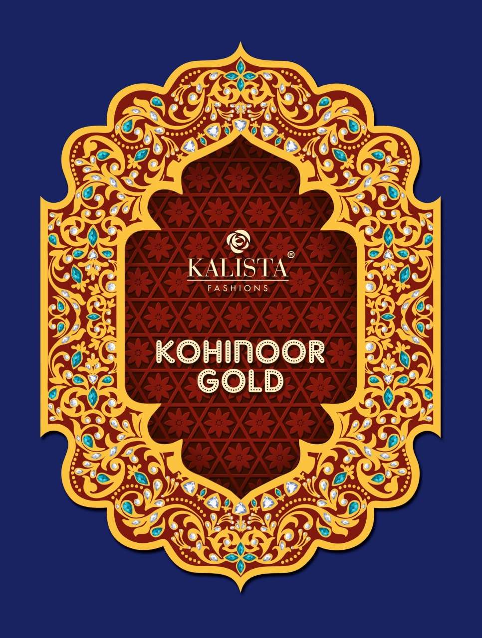 kalista kohinoor gold imported heavy viscose embroidery bridal sarees
