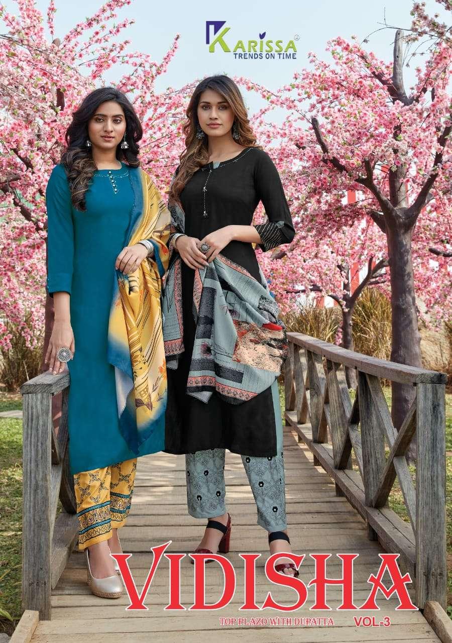 karissa vidisha vol 3 top with pant and dupatta set at lowest cost