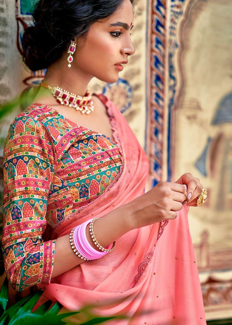 kashvi ruby vol 2 moss chiffon fancy saree supplier