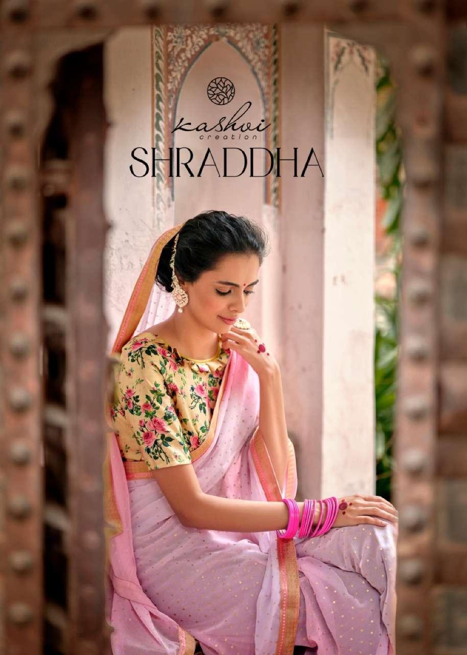 kashvi shraddha georgette foil printed ethnic wear fancy saree catalogue wholesaler