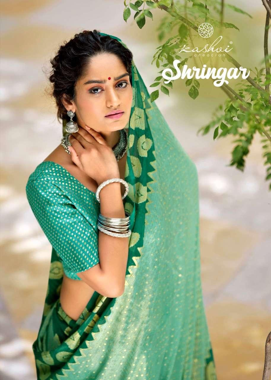 kashvi shringar chiffon brasso exclusive fancy sarees