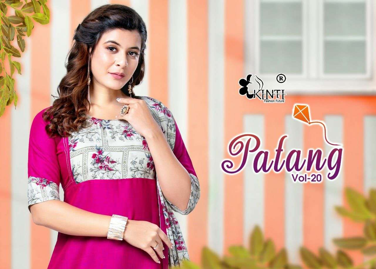 kinti patang 20 fancy readymade rayon kurti with dupatta wholesaler