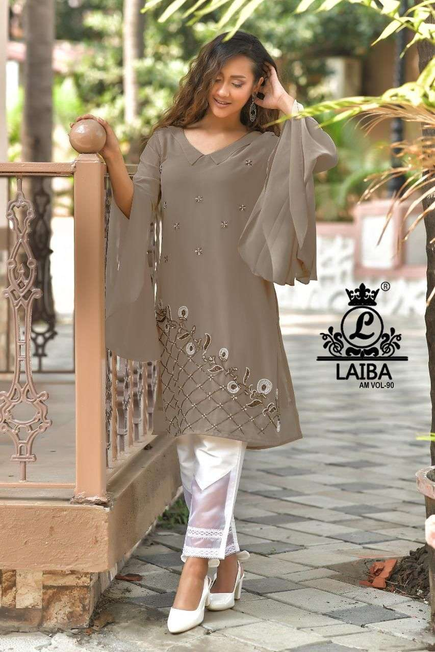 laiba am vol 90 georgette pakistani exclusive tunic with fancy pant