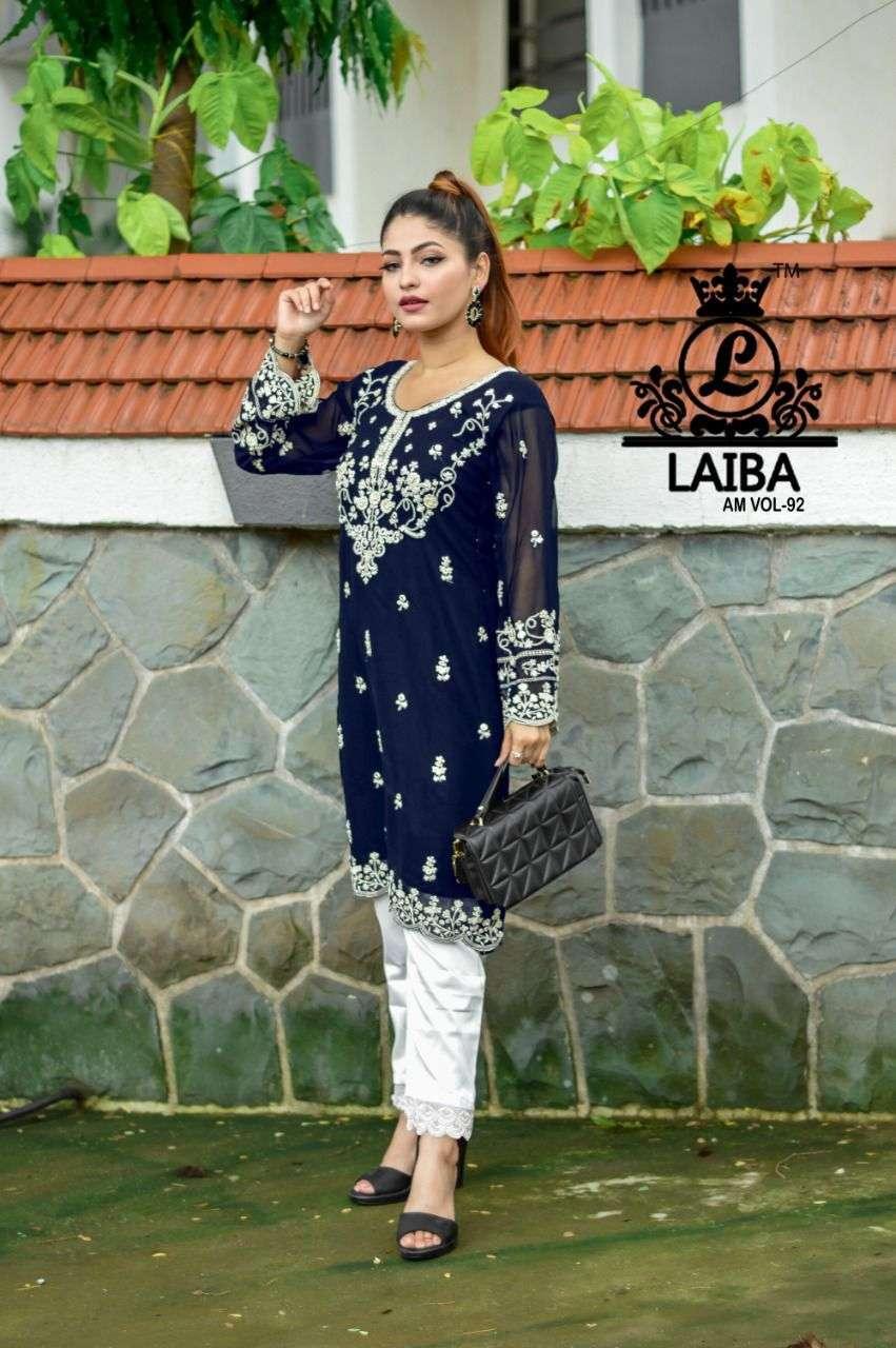 laiba am vol 92 georgette pakistani handwork kurti with stylish bottom
