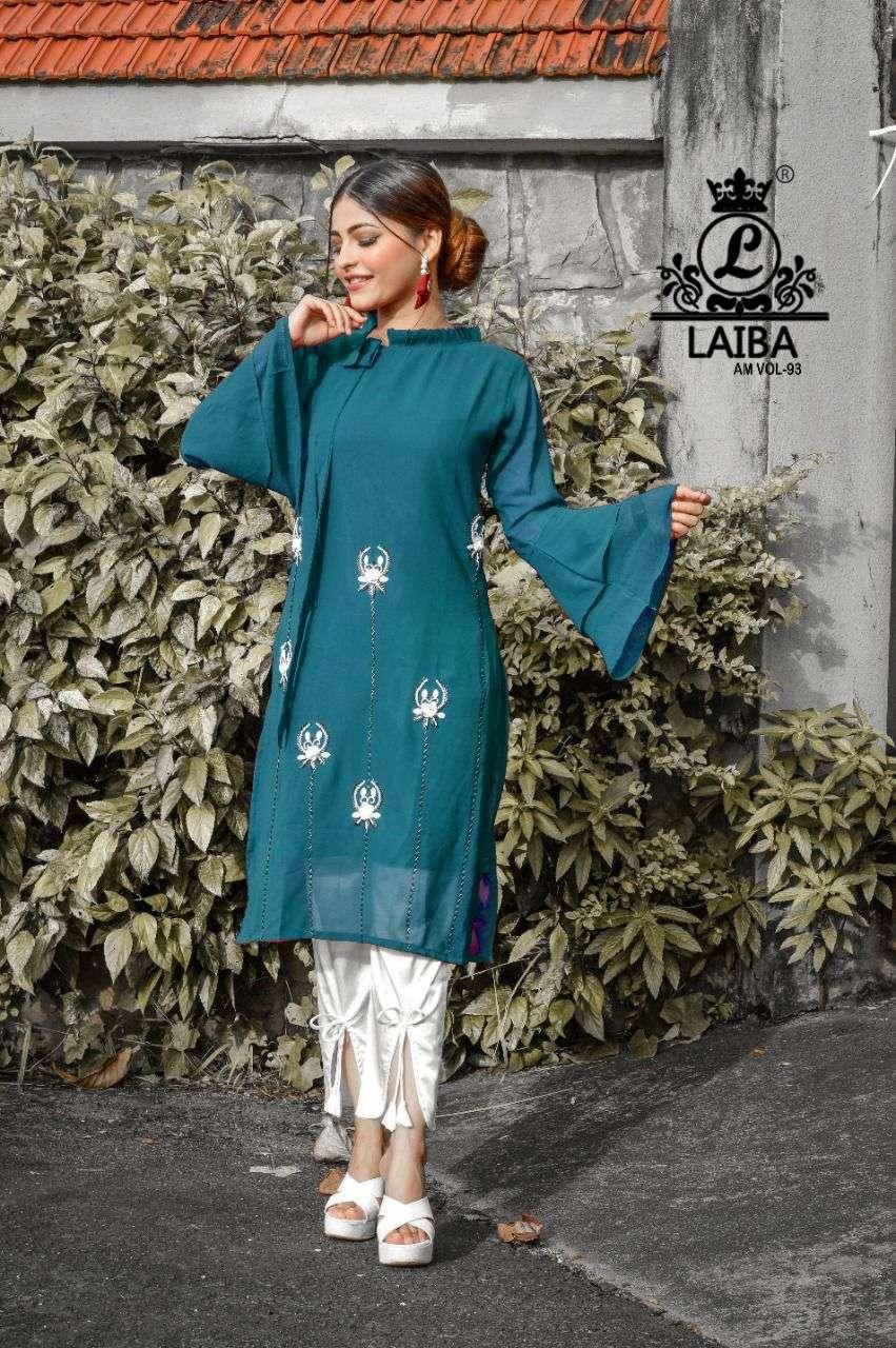 laiba am vol 93 georgette pakistani kurti with fancy bottom supplier