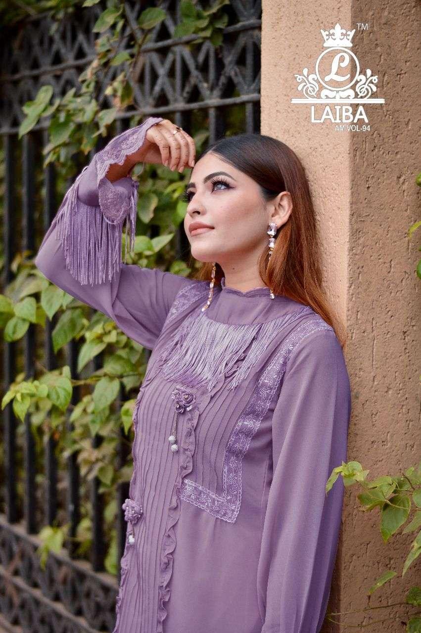 laiba am vol 94 designer luxury tunic with beautiful classy 3d flower work