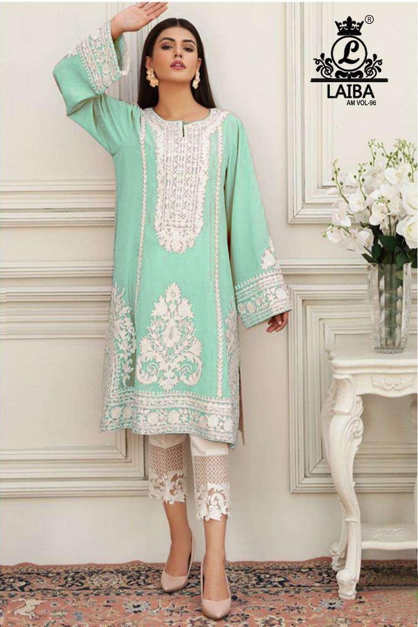 laiba am vol 96 georgette pakistani designer kurti with bottom