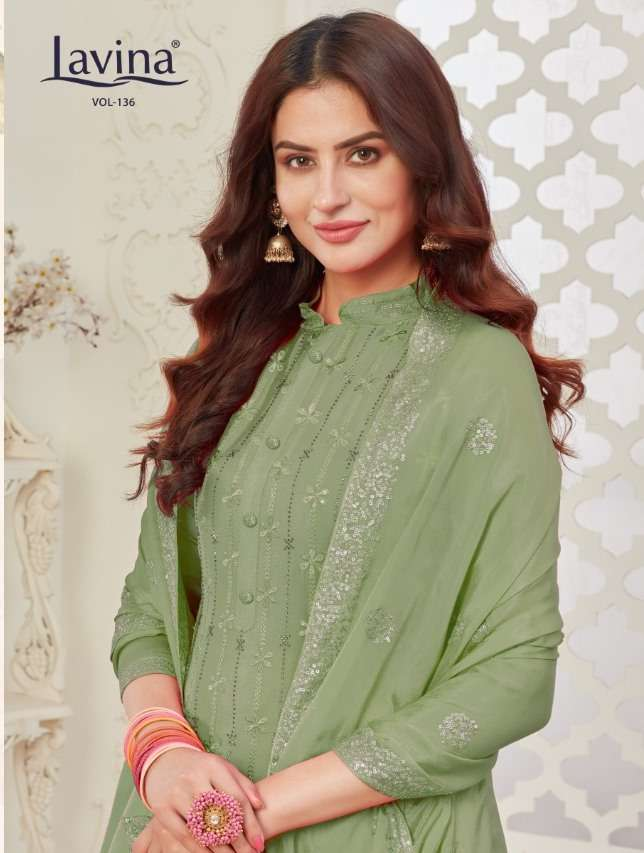 lavina vol 136 chinon embroidery party wear suits online supplier