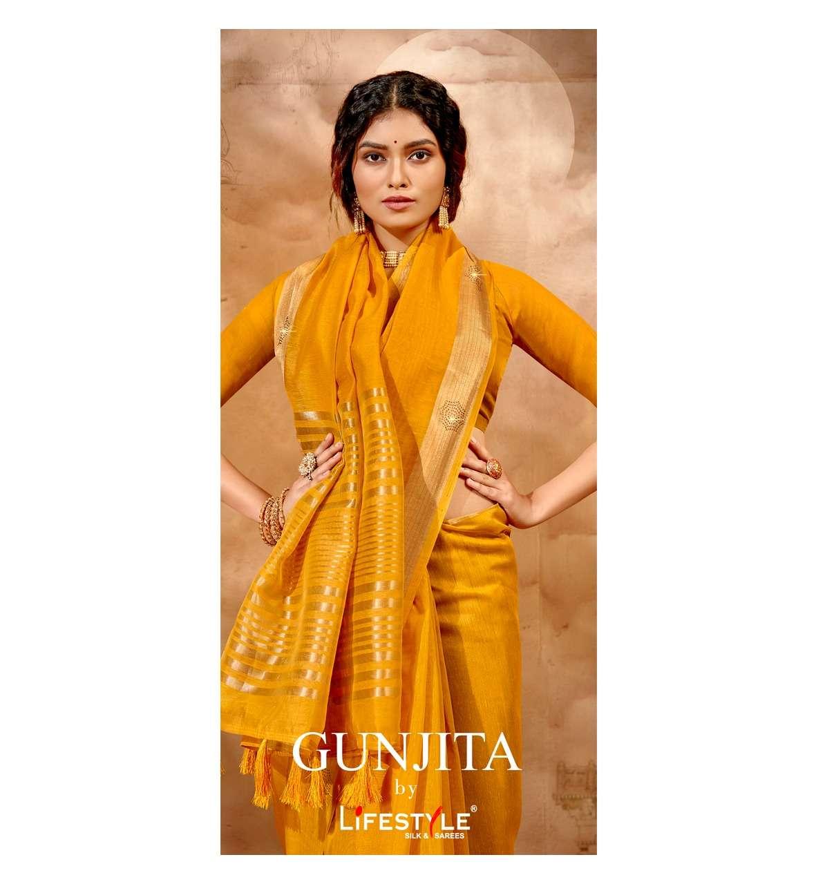 lifestyle gunjita vol 1 chanderi silk fancy saree wholesaler