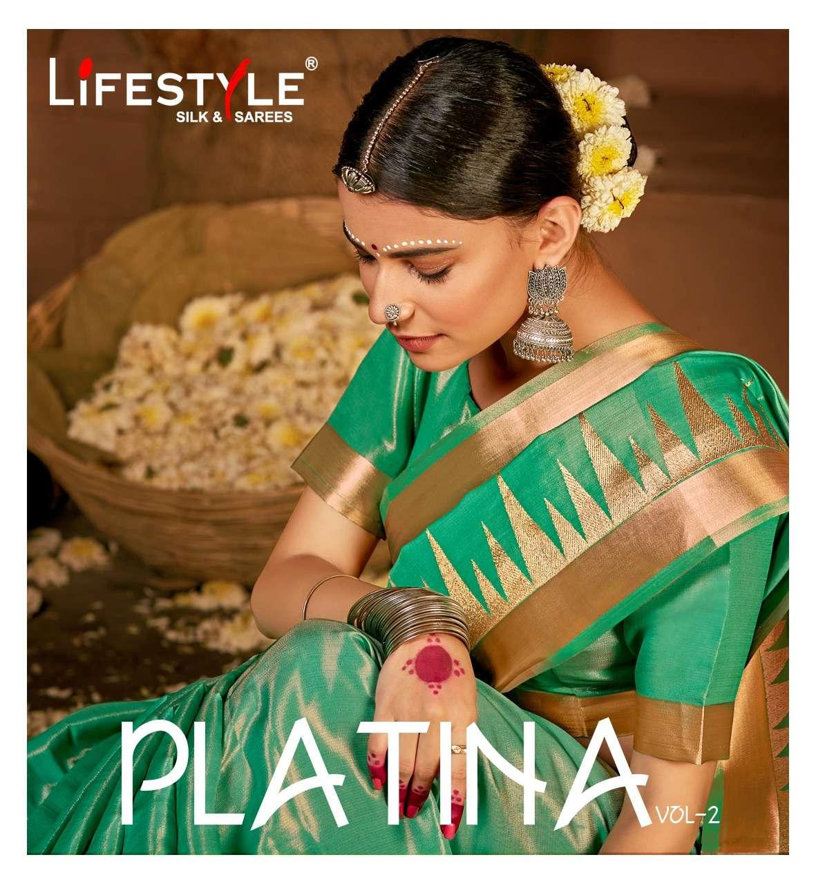 lifestyle platina vol 2 cotton tissue saree with work new design