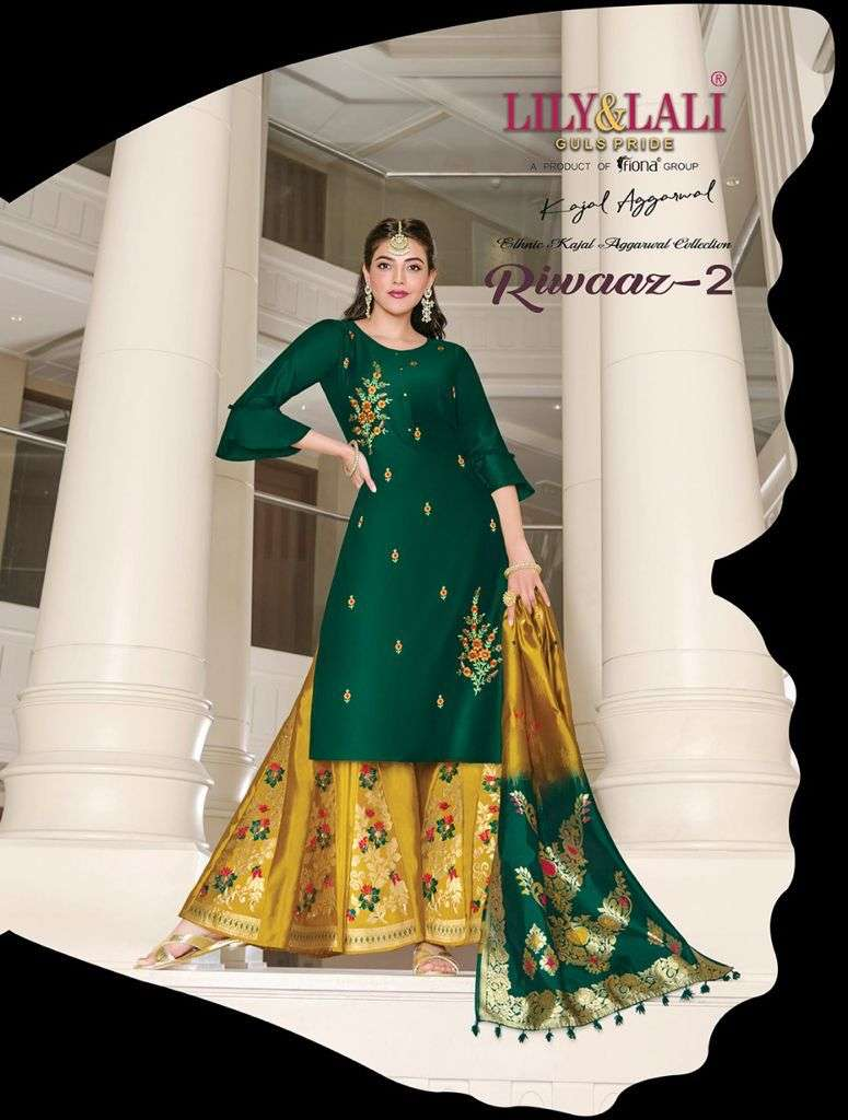 lily and lali riwaaz vol 2 readymade top with palazzo and dupatta set