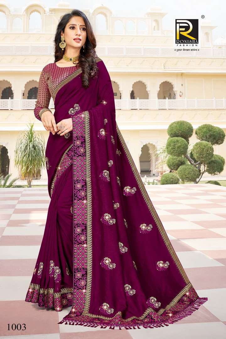 Malhar by ranjna saree fancy thread worked with diamond exclusive saree beautiful collection
