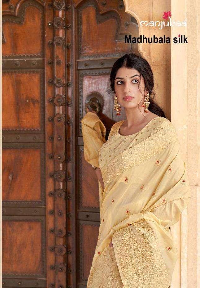 manjubaa launch madhubala silk designer 5601-5610 series party wear saree
