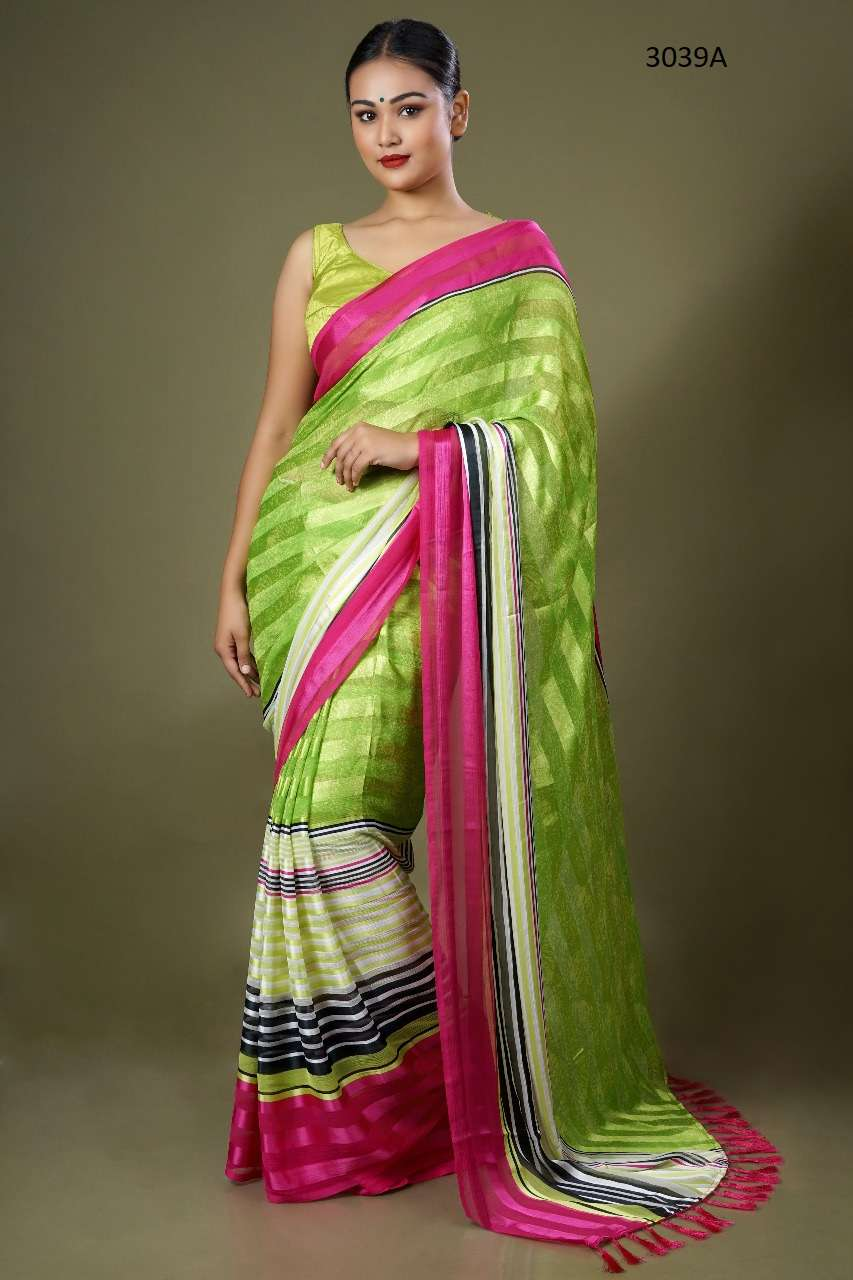 manjula 3039 design colors chiffon satin patta fancy saris supplier