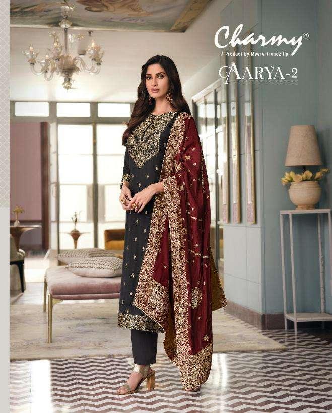 meera zisa charmy aarya vol 2 silk weaving jacquard suits exporter