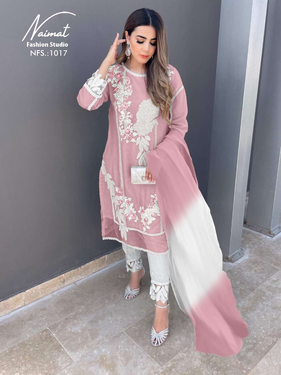 naimat fashion studio nfs 1017 beautiful designer kurti with botton and dupatta