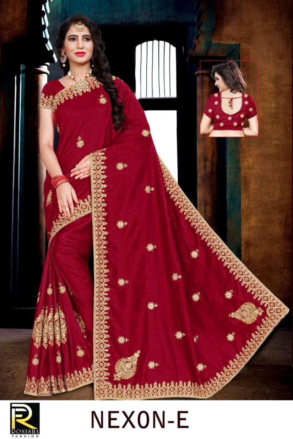 Nexon by ranjna saree embroidery warked heavy diamond festive wear saree collction