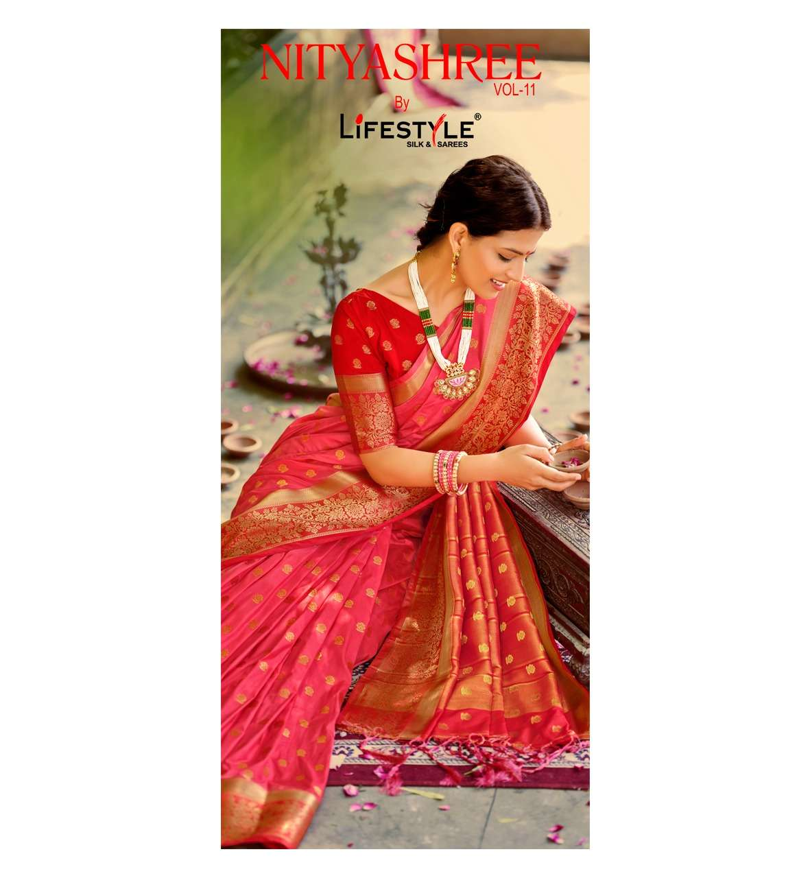 nityashree vol 11 by lifestyle nylon raw silk exclusive saree range