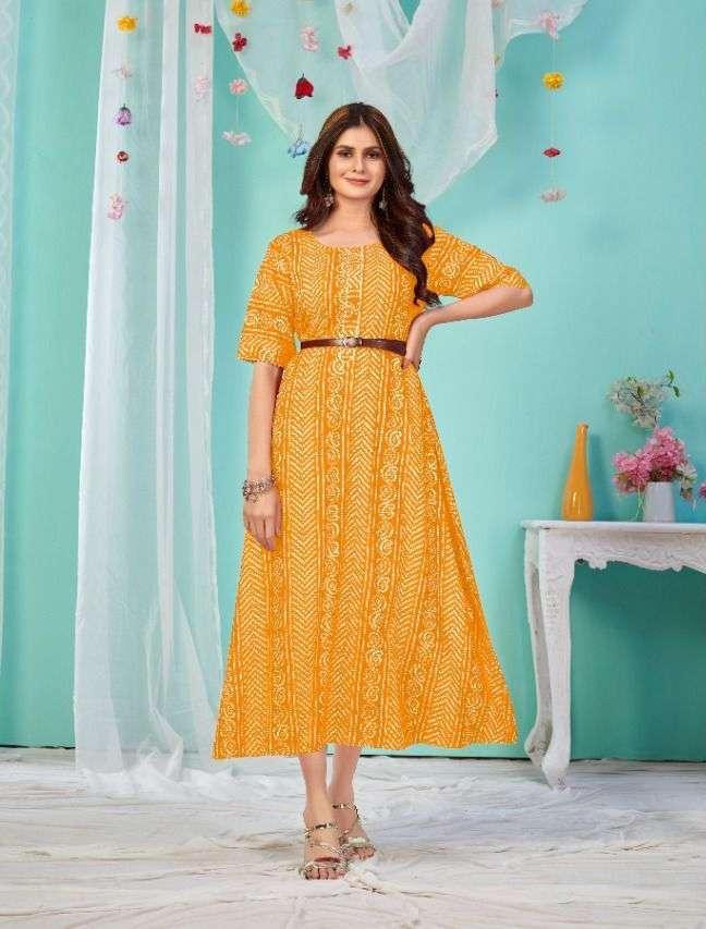 poonam sugar bawl rayon bandhani gown collection