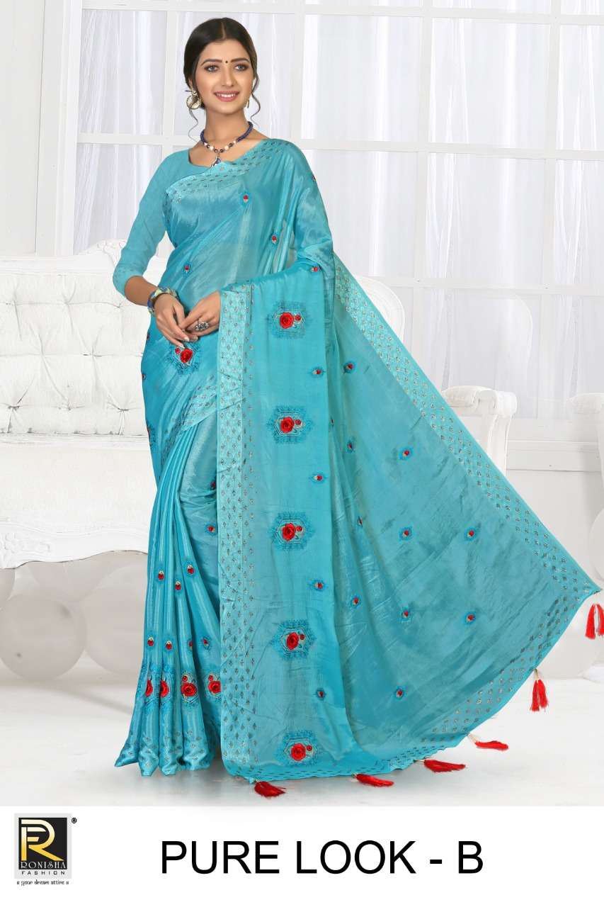 Pure look by Ranjna saree Fancy thread work siroski diamond beautiful colour super hit collecton