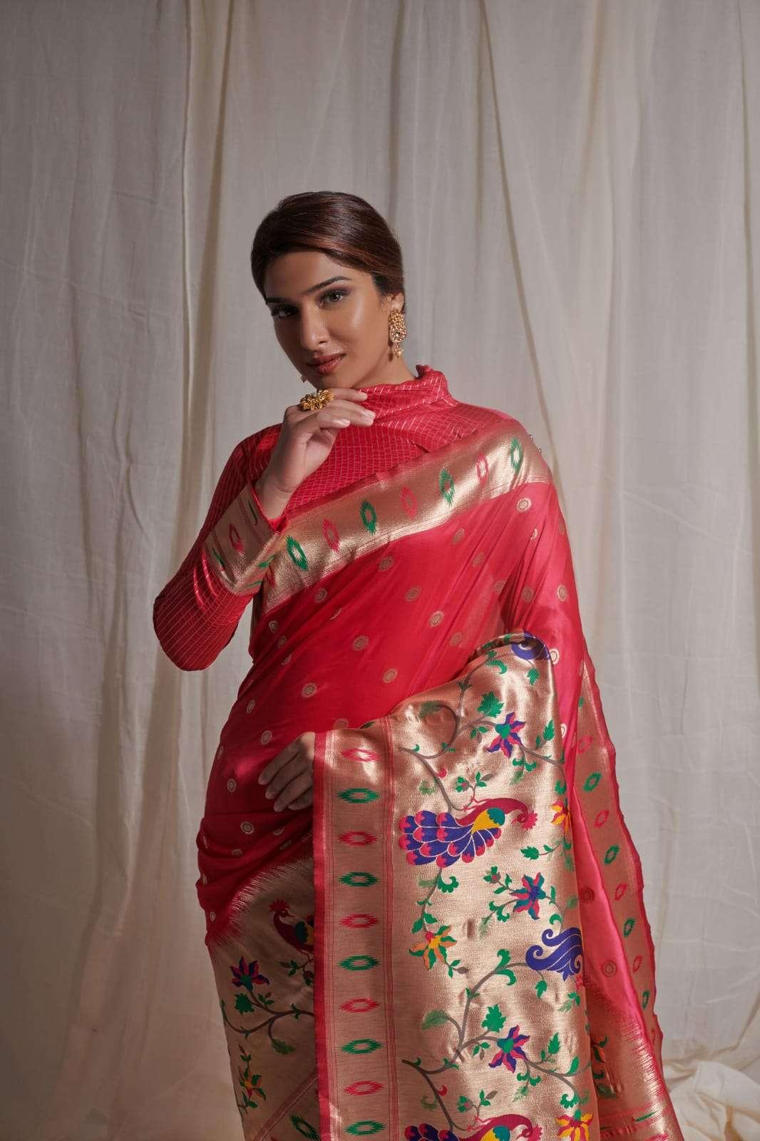 rajyog alesa pure silk paithani with half half concept