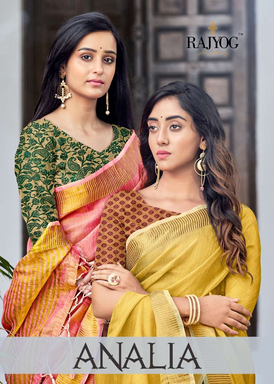 rajyog analia silk soft tissue plus linen consept with banglori hand dying blouse