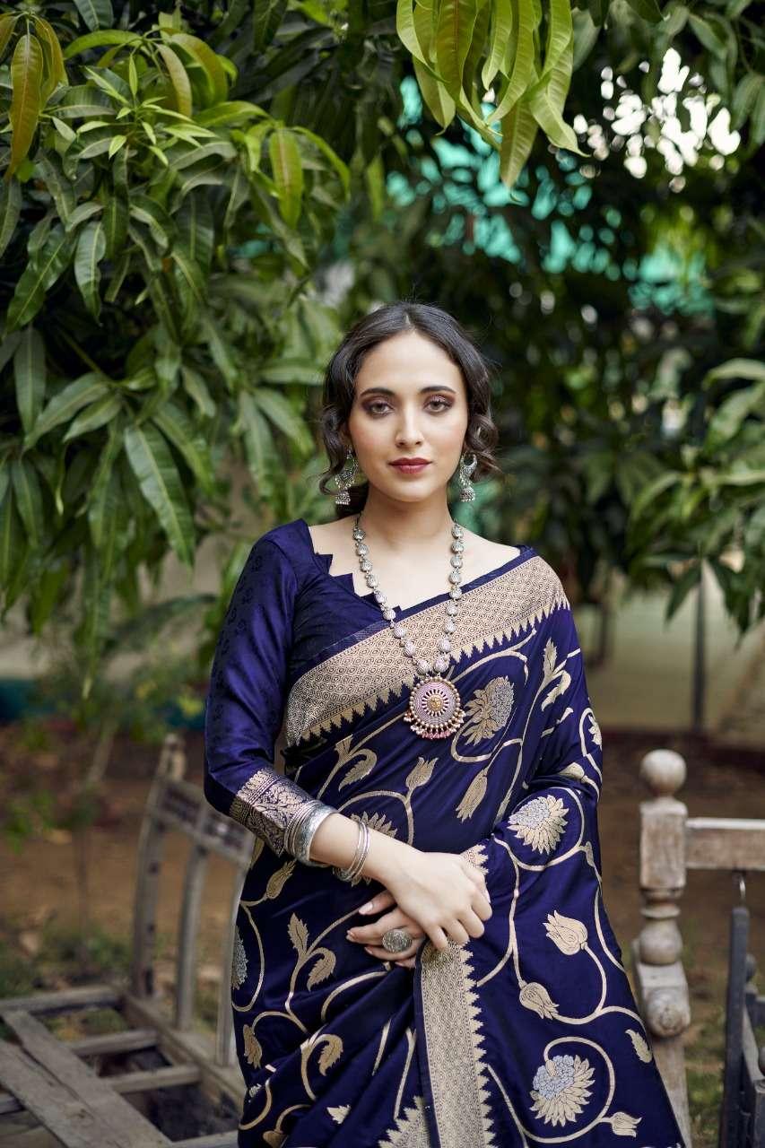 rajyog pooja silk soft banarasi silk weaving sarees wholesaler