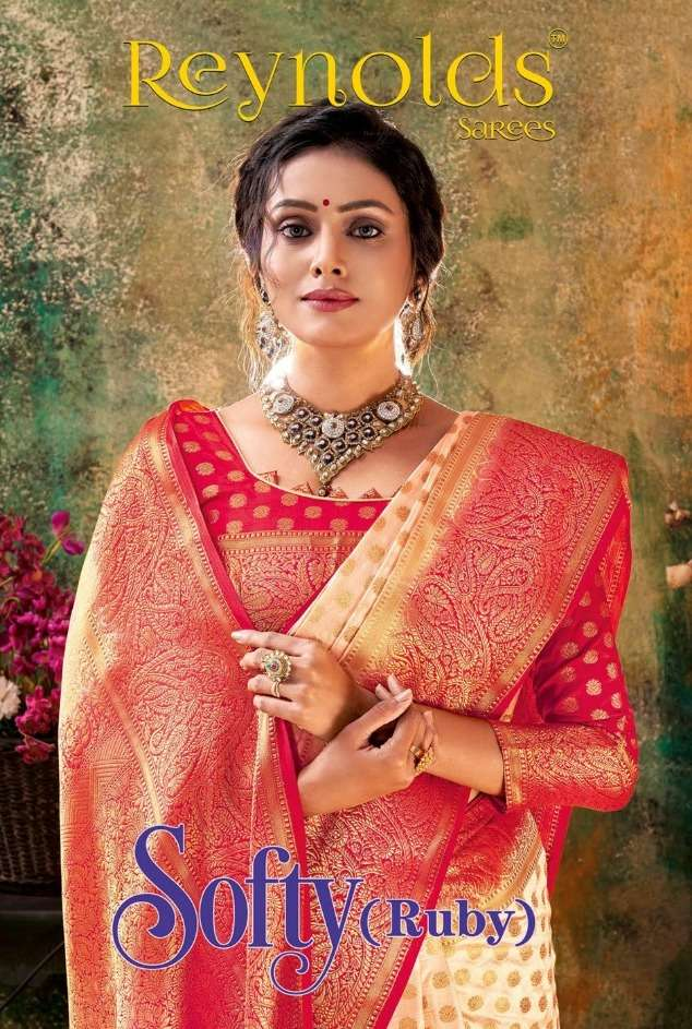 reynolds sarees softy ruby silk traditional saris wholesaler in surat