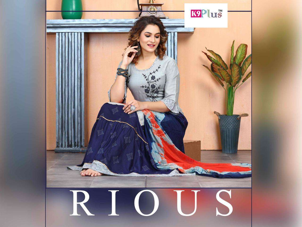 RIOUS BY K9 HEAVY RAYON READYMADE SUIT TOP SKIRT DUPATTA CATALOG