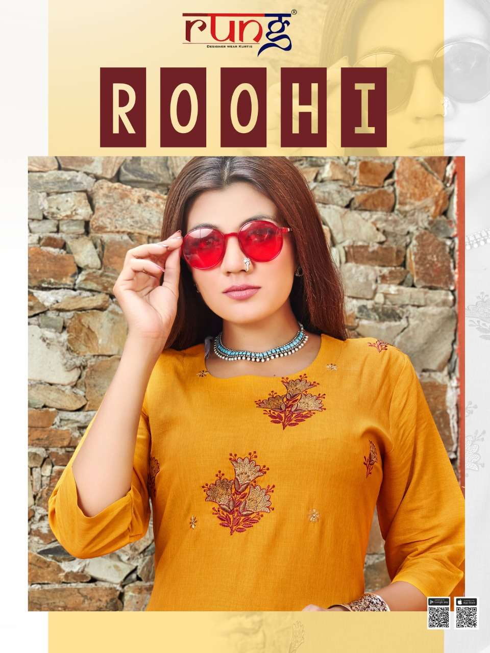 roohi by rung rayon simple wear fancy kurti