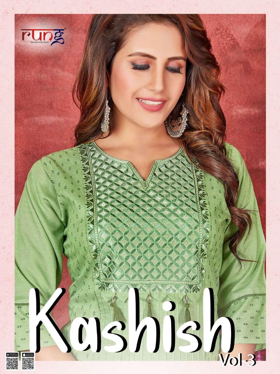 rung kashish vol 3 rayon work daily wear fancy kurtis