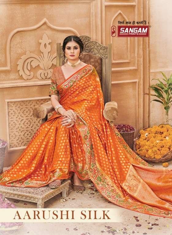 sangam prints aarushi silk weaving fancy banarasi silk saris wholesaler