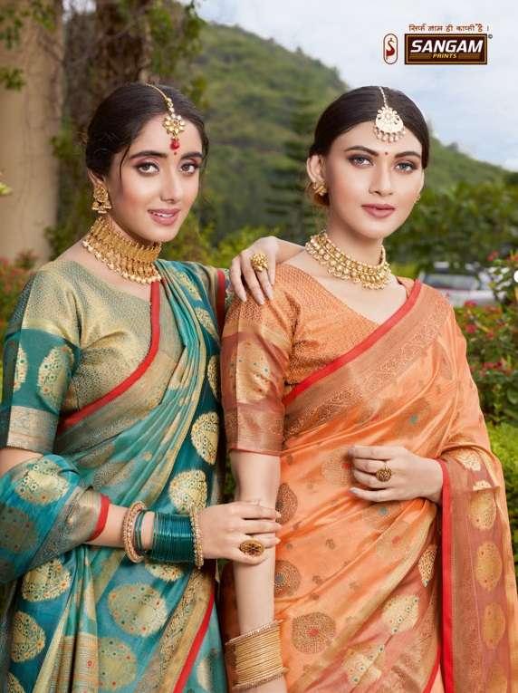 sangam prints bhavika organza rich pallu saris wholesaler