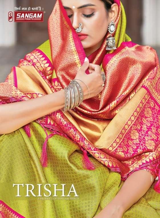 sangam prints trisha zari weaving fancy silk saris wholesaler