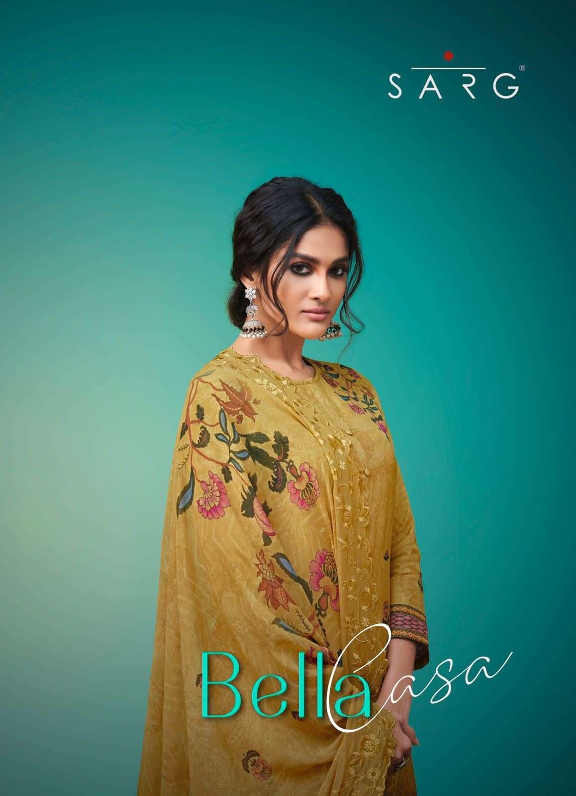 Sarg present bella casa pure russian silk digital printed fancy party wear salwar kameez