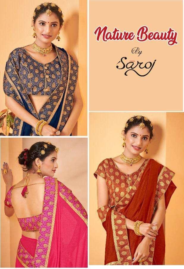 saroj natural beauty vichitra silk designer sarees