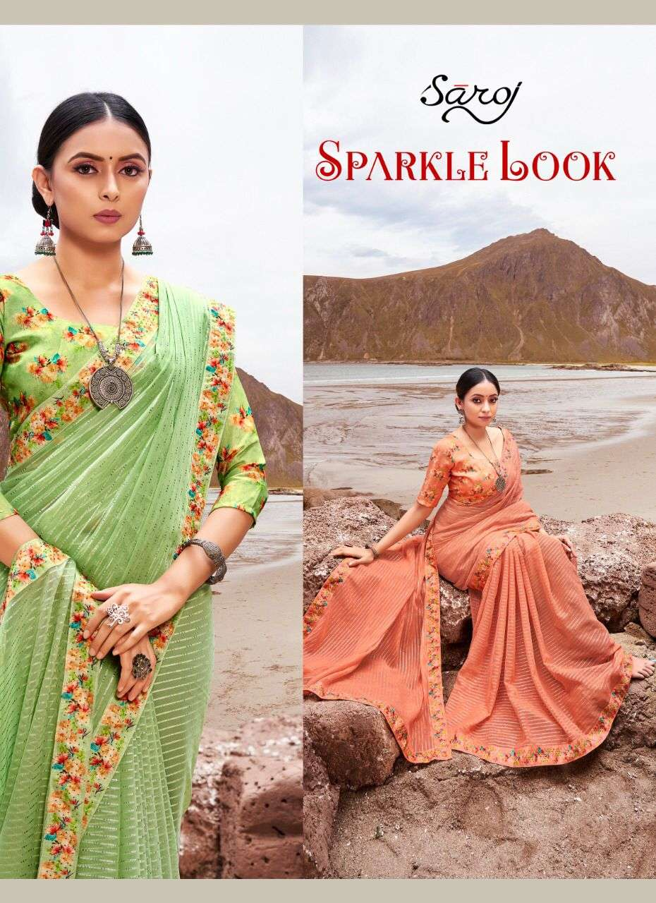 saroj sparkle look georgette saree wholesaler