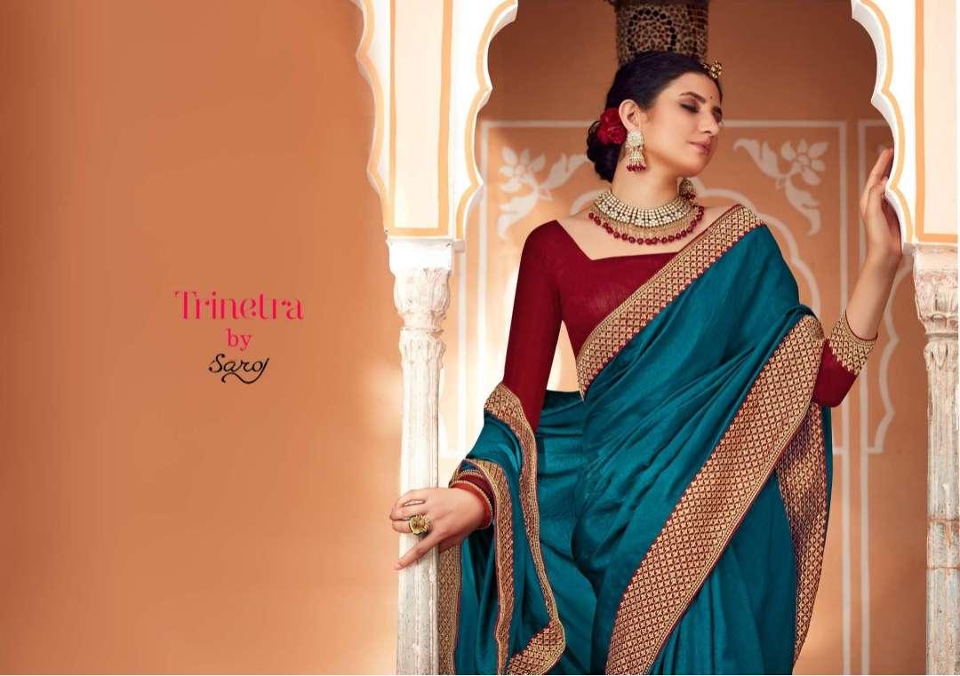 Saroj trinetra series 1001 to 1008 soft vichitra silk with heavy border sarees collection